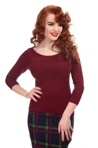 Collectif - Bardot Boat Neck Jumper - Wine - 1940's/1950's vintage inspired