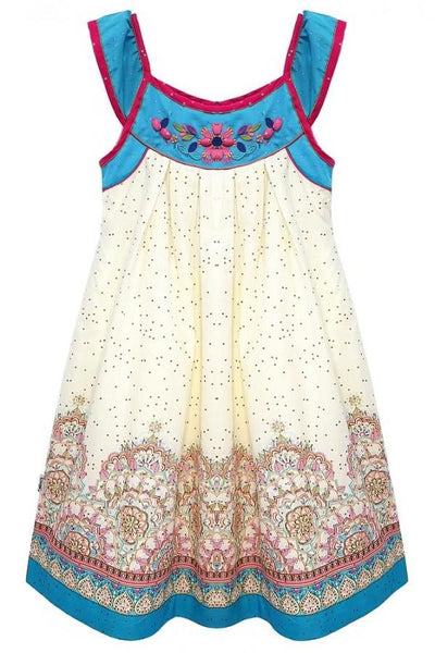 Domino Girl Border Print Embroidered & Sequin Dress