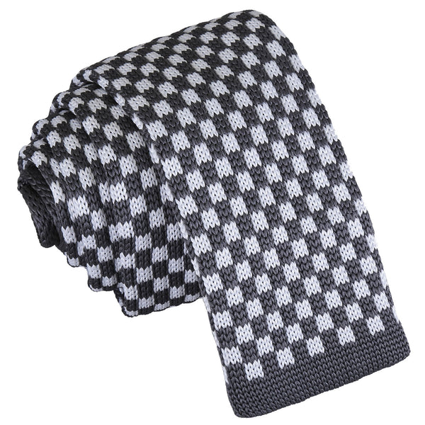 Check Knitted Skinny Tie in 5 colours
