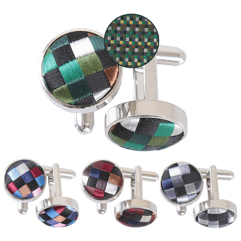 Chequered Geometric Cufflinks in 4 colours