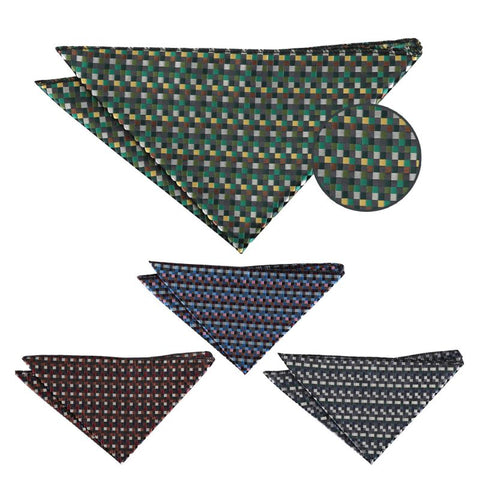 Chequered Geometric Pocket Square in 4 colours