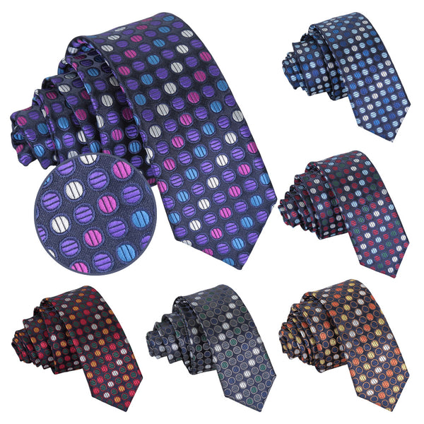 Chequered Polka Dot Skinny Tie in 6 colours