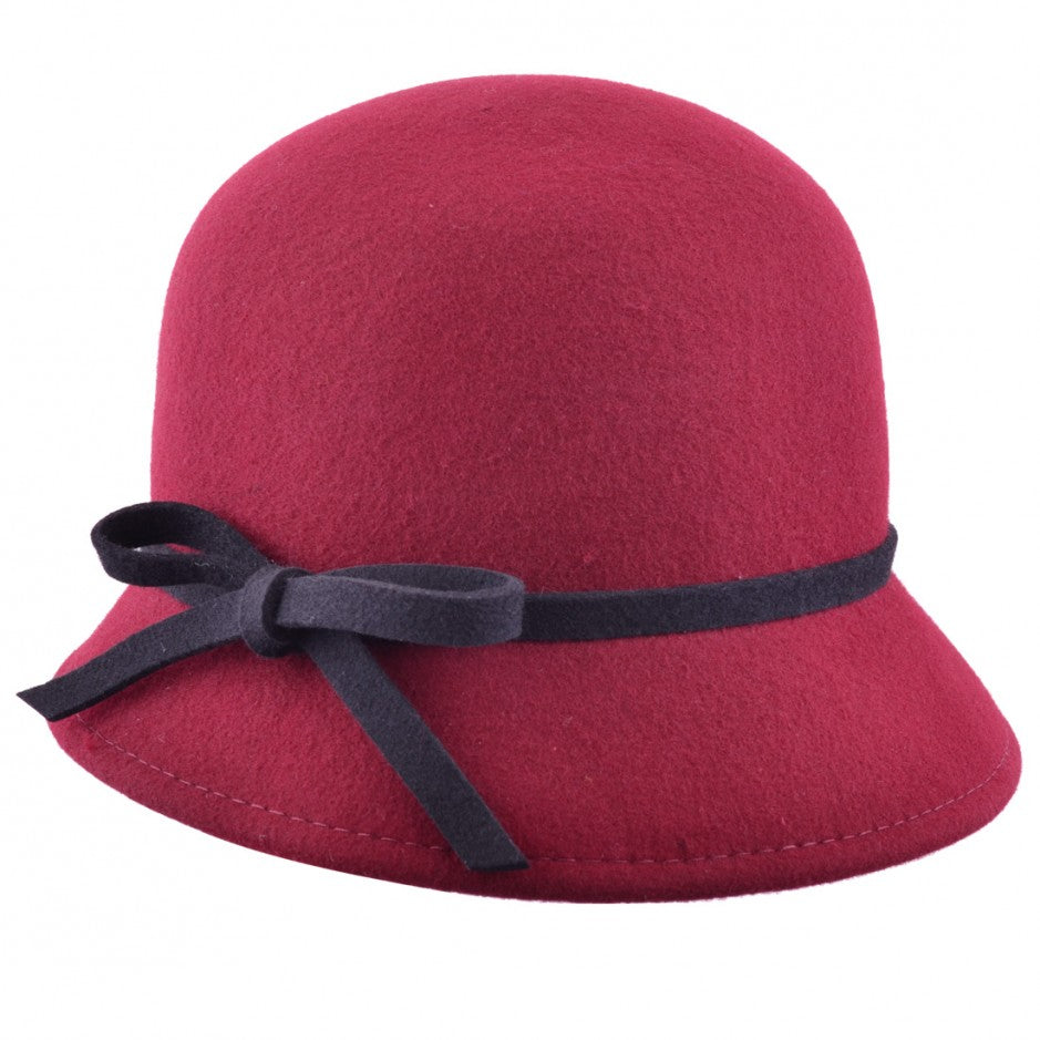 Wool Felt Cloche Hat with bow - Red