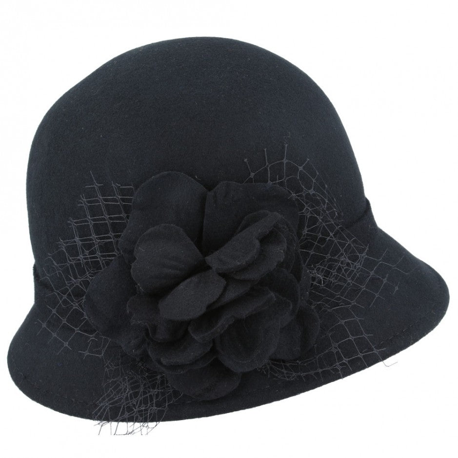 Wool Felt Cloche Hat with Flower and Mesh - Black