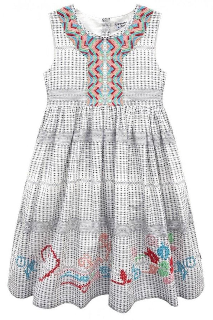 Domino Girl Cleopatra Embroidered and Sequin Girls Dress