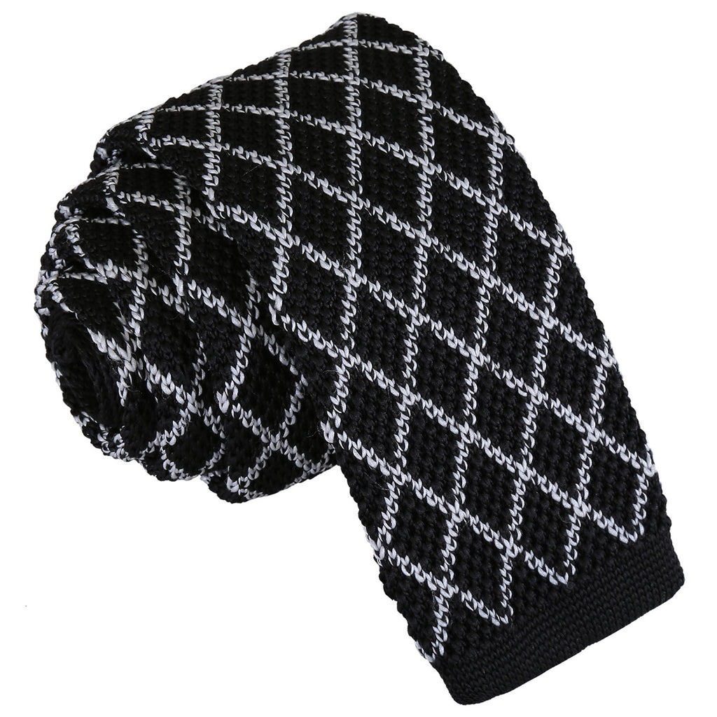 Diamond Grid Knitted Skinny Tie in 5 colours