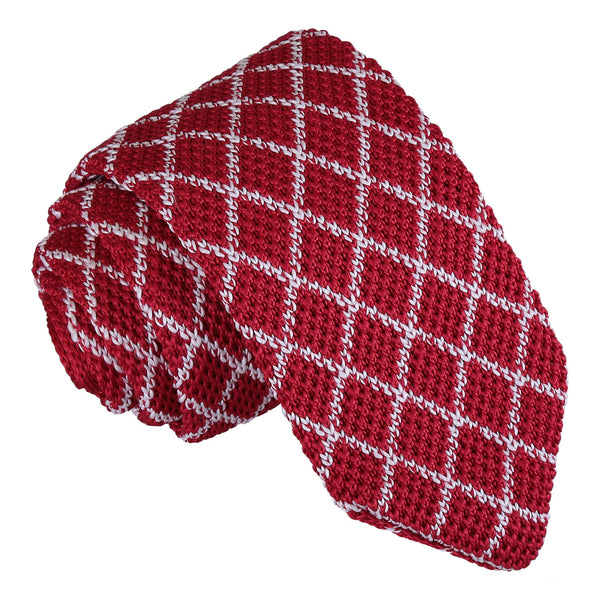 Diamond Grid Knitted Slim Tie in 5 colours