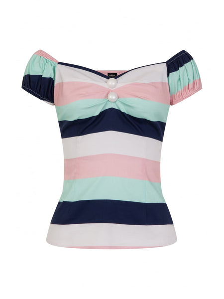 Collectif Dolores Candy Stripe Gypsy Style Top
