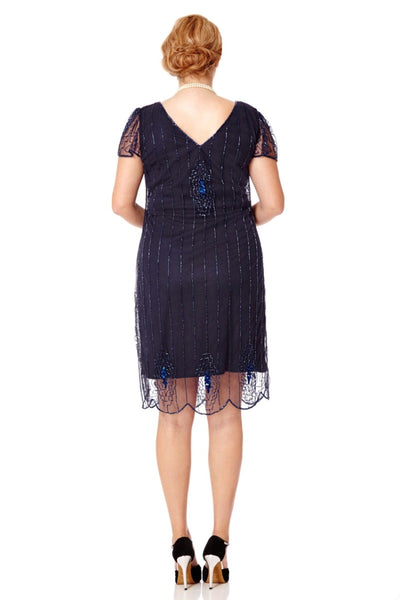 Downton Abbey Flapper Dress in Navy