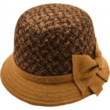 Women's Wool Vintage Cloche Hat - Brown and Beige