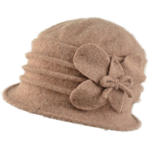 Womens Wool Cloche hat. Beige Butterfly design