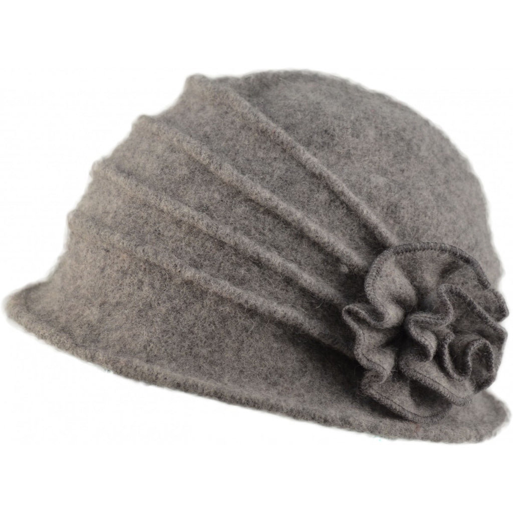 Womens Wool Cloche hat. Black Flower design