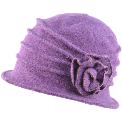 Womens Wool Cloche hat. Purple Flower design