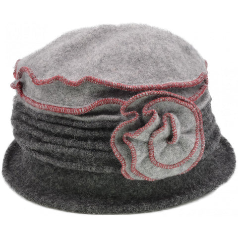 Women's Vintage Wool Cloche hat. Dark Grey design