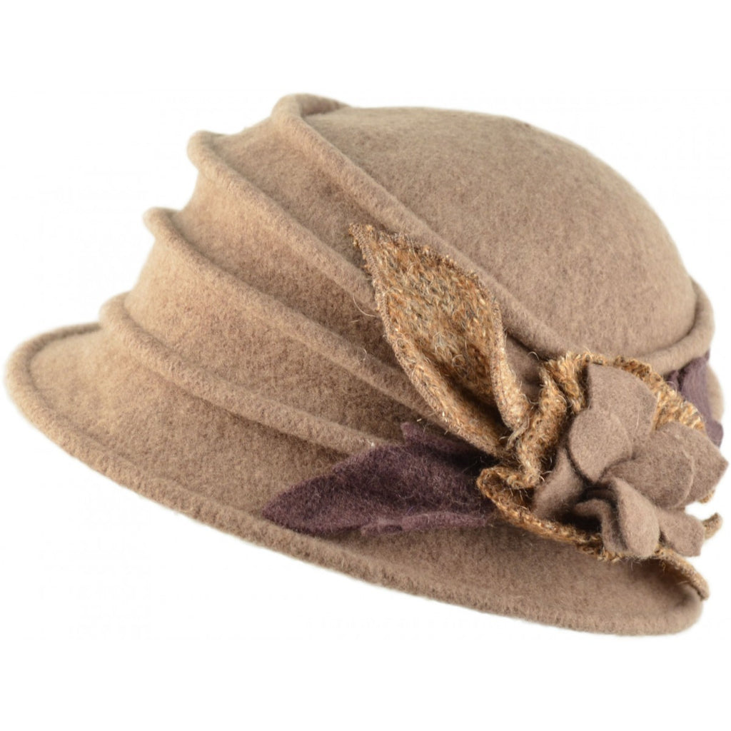 Women's Wool Vintage Cloche Hat - Beige - Kit'n'Heels