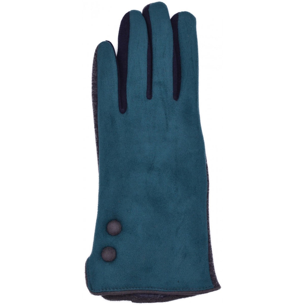 Ladies' Faux Suede Gloves - Green and Grey