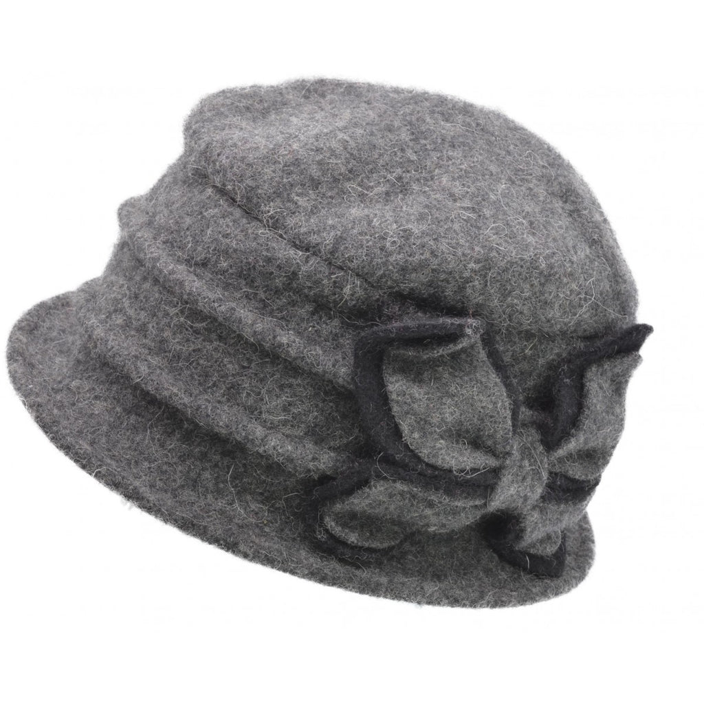 Women's Wool Vintage Cloche Hat - Grey