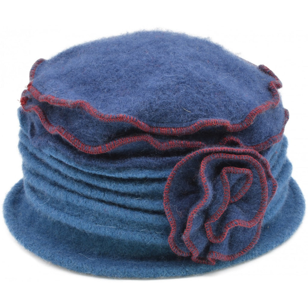 Women's Vintage Wool Cloche hat. Dark Blue Top design