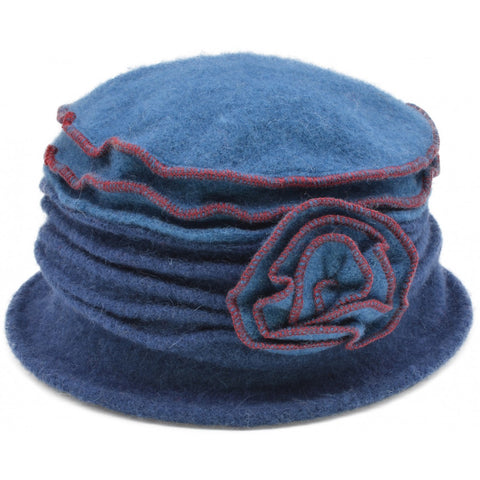 Women's Vintage Wool Cloche hat. Light Blue Top design