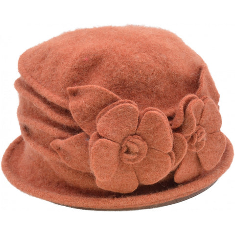 Women's Vintage Wool Cloche hat. Orange Double Flower design