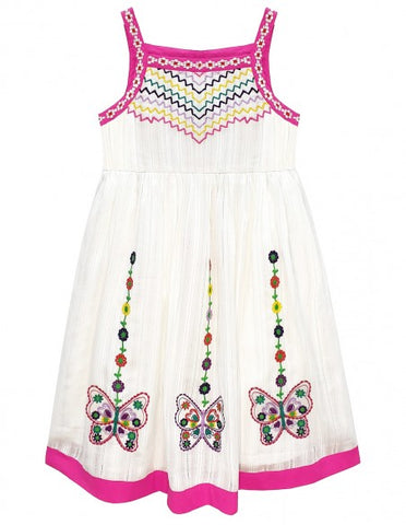 Embroidered Butterfly Sun Dress