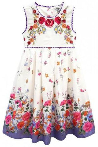 Domino Girl - Little Girl's Embroidered Floral Border Print Summer Dress