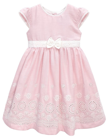 Toddlers Floral Border Hem Bow Dress