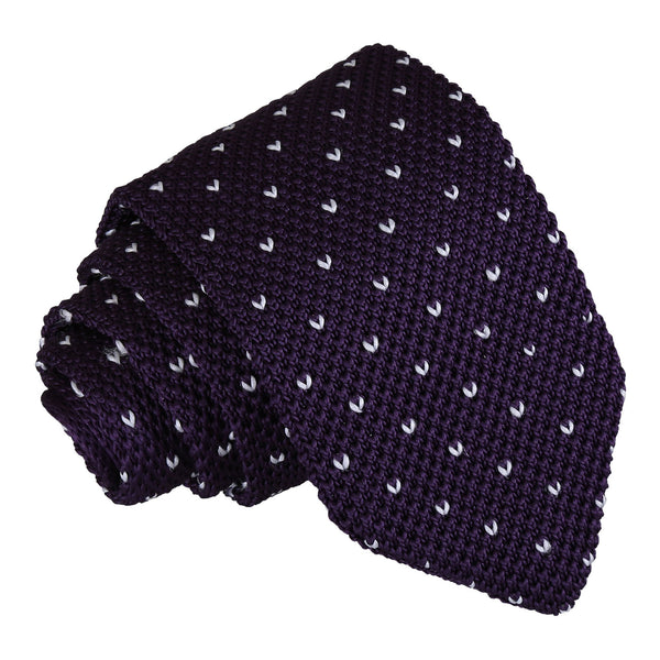 Flecked V Polka Dot Knitted Slim Tie in 5 colours