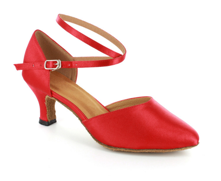 Isla - Ladies' Red Satin Ballroom Dance Shoe - Kit'n'Heels