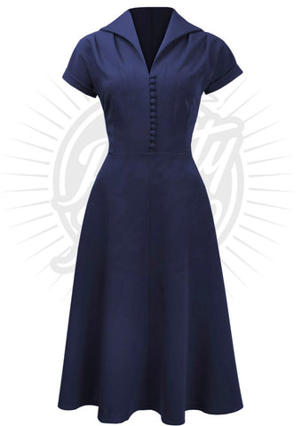 Pretty Retro 40's Hostess Dress in Navy - Kit'n'Heels