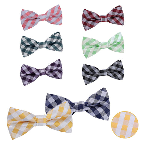 Gingham Check Pre-Tied Bow Tie in 8 colours