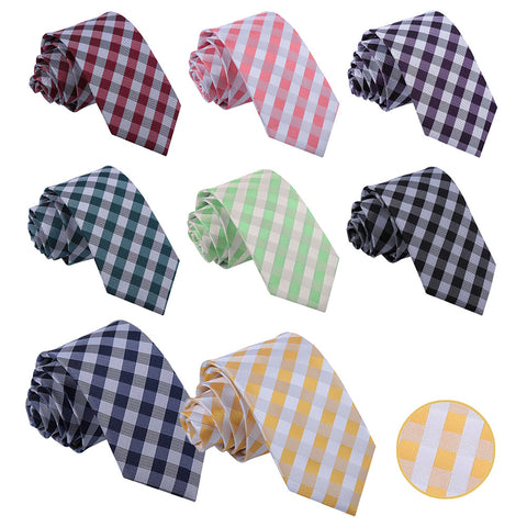 Gingham Check Slim Tie in 8 colours