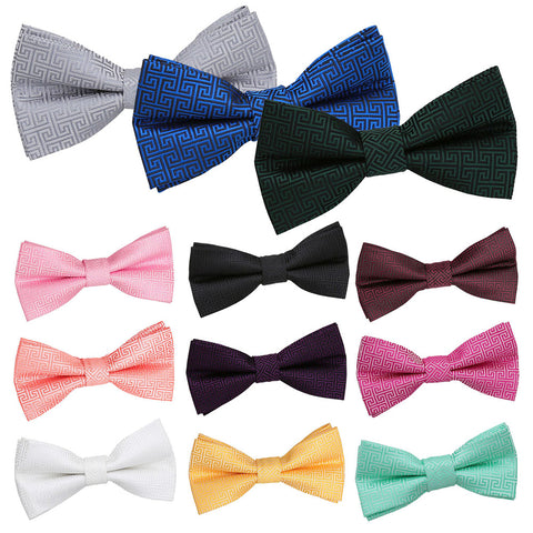 Greek Key Pre-Tied Bow Tie in 12 colours