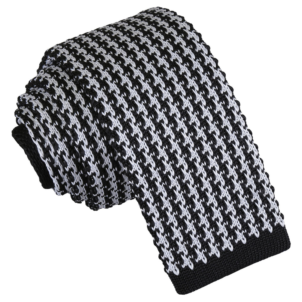 Houndstooth Knitted Skinny Tie in 5 colours