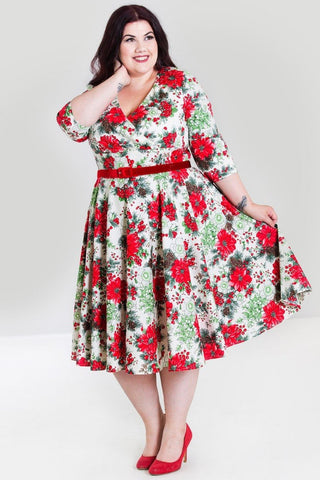 Hell Bunny Jennie Festive 50's Dress with 3/4 Sleeves (Plus Size) - Kit'n'Heels