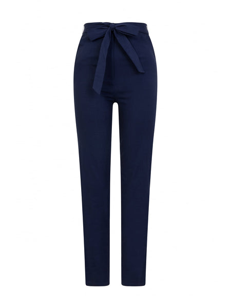 Collectif Kloma Navy High Waisted Cotton Trousers