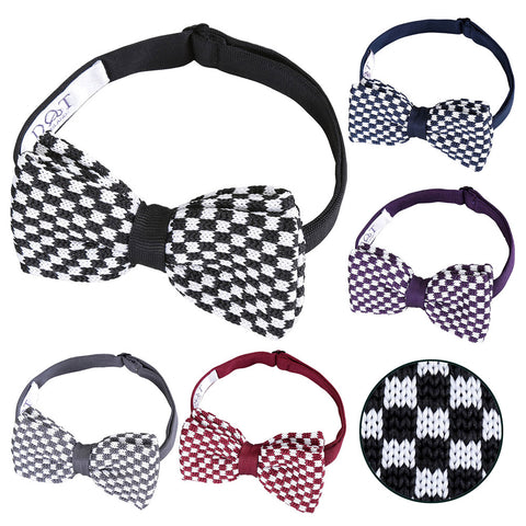 Check Knitted Pre-Tied Bow Tie in 5 colours