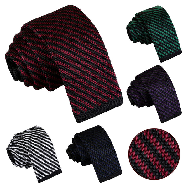 Diagonal Stripe Knitted Skinny Tie in 5 colours