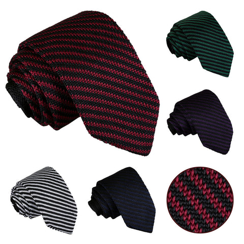 Diagonal Stripe Knitted Slim Tie in 5 colours