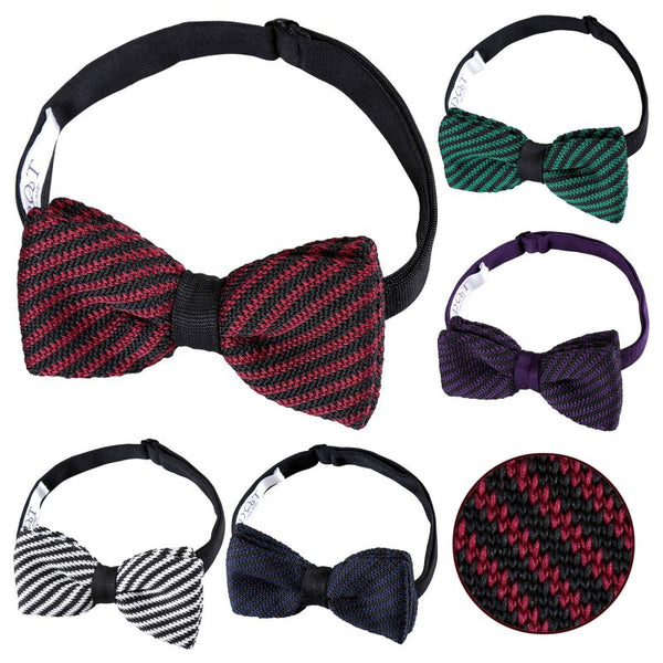 Diagonal Stripe Knitted Pre-Tied Bow Tie in 5 colours