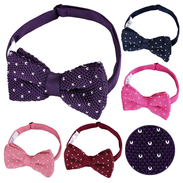 Flecked V Polka Dot Knitted Pre-Tied Bow Tie in 5 colours