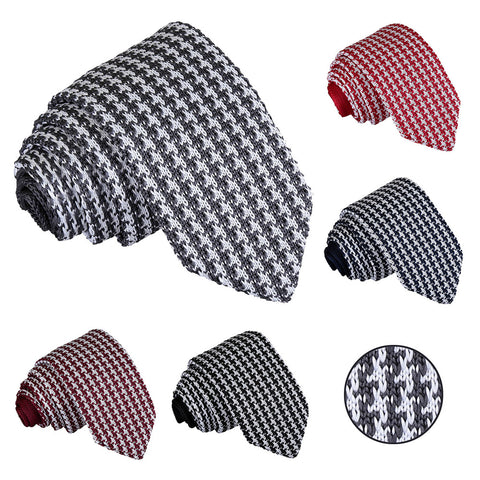 Houndstooth Knitted Slim Tie in 5 colours