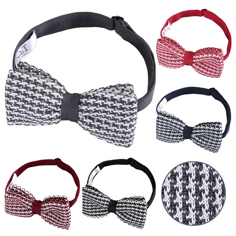 Houndstooth Knitted Pre-Tied Bow Tie in 5 colours