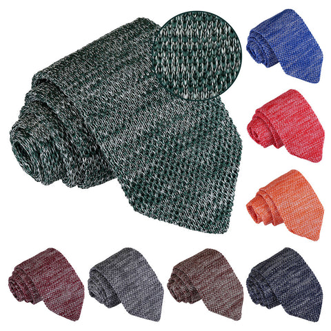 Melange Plain Speckled Knitted Slim Tie in 8 colours
