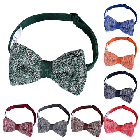 Melange Plain Speckled Knitted Pre-Tied Bow Tie in 8 colours