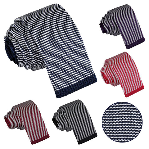 Pin Stripe Knitted Skinny Tie in 5 colours