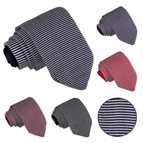 Pin Stripe Knitted Slim Tie in 5 colours