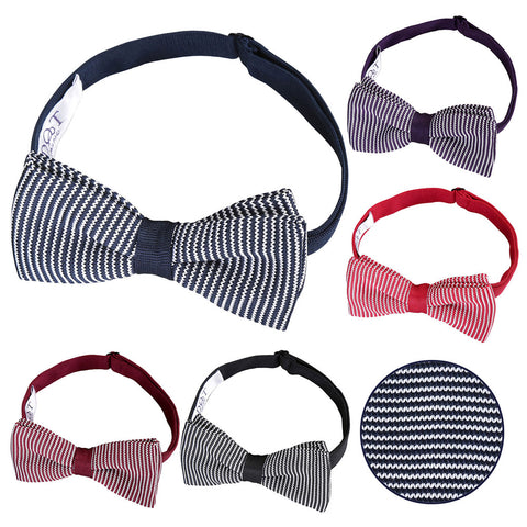 Pin Stripe Knitted Pre-Tied Bow Tie in 5 colours