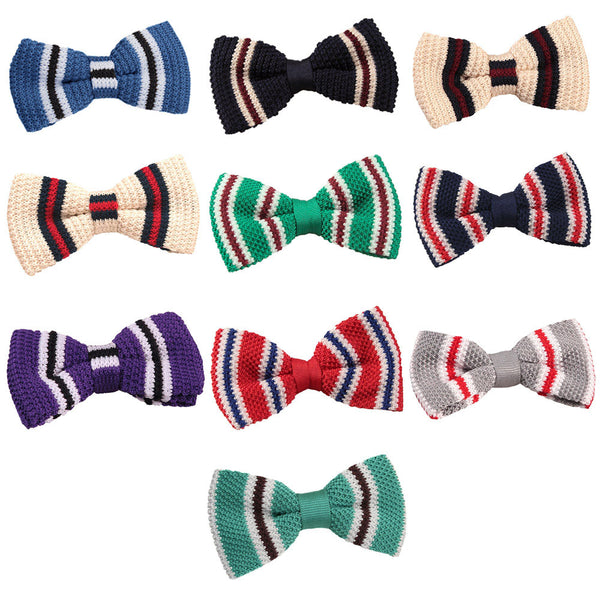 Knitted 3 Thin Stripe Bow Tie in 11 colours