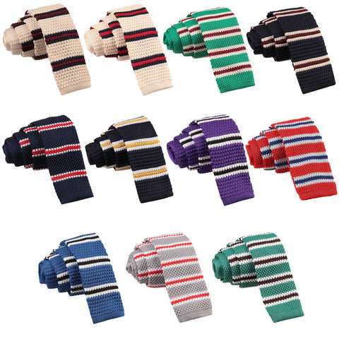 Knitted 3 Thin Stripe Skinny Tie in 12 colours